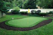 Artificial grass golf hole installation