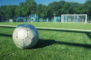 Synthetic grass soccer closeup