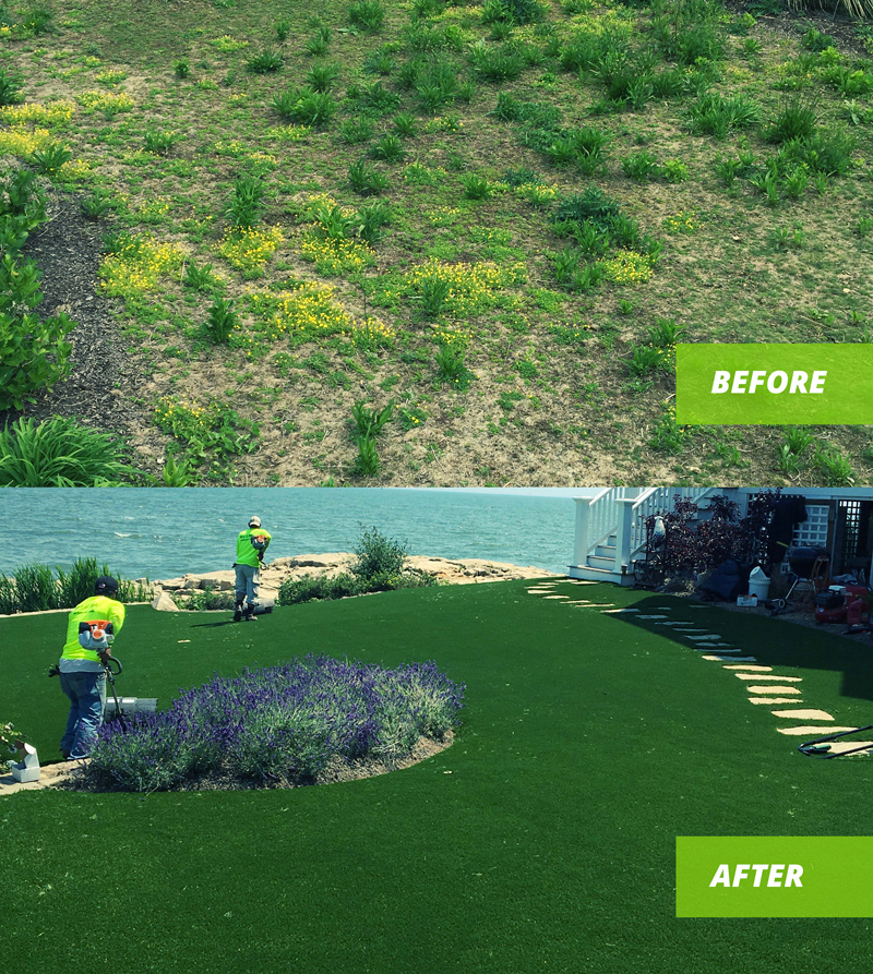 Artificial turf installation before after